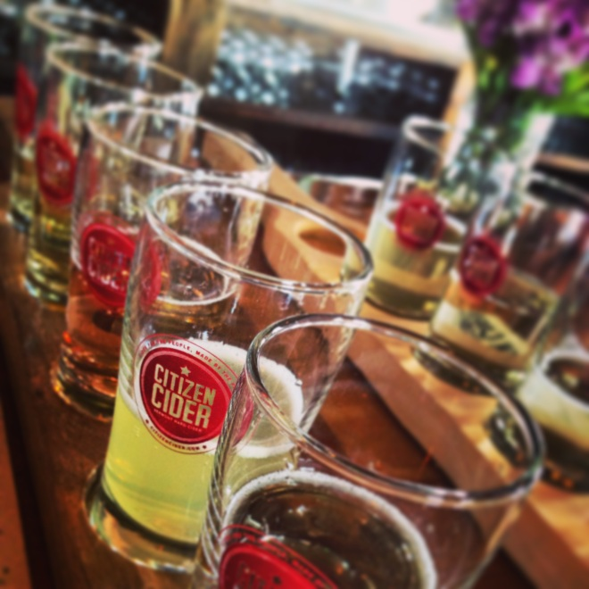 Citizen Cider has a piece of my heart.  We did two flights and tried it all.  They create awesome cider using apples, cranberries, and beer yeasts.
