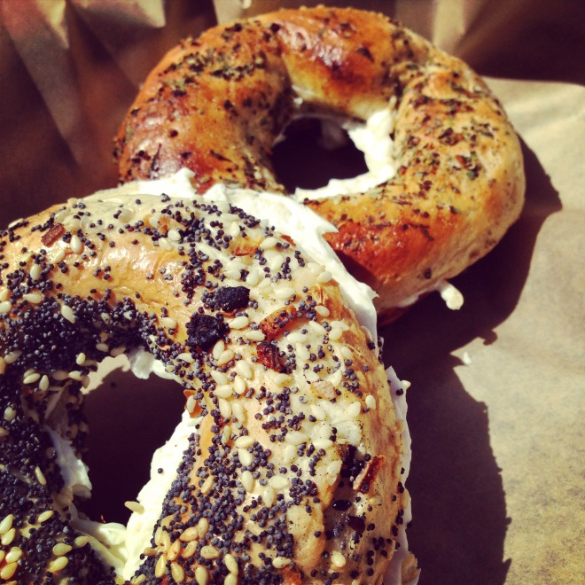 Meet the Montreal style bagel--complete with Montreal Seasoning.  These hand rolled, honey/water boiled, wood fired beauties are dense like a pretzel and oh, so yummy!