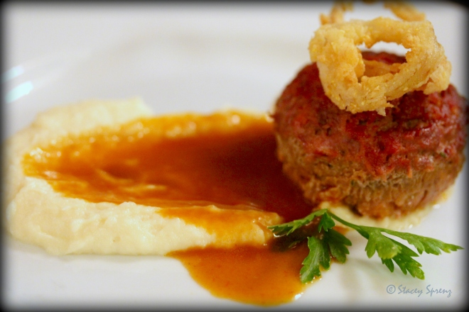 Course 4: Elk Meatloaf, Kerala Curry Tomato Chutney, Fried Shallot Rings, Parsnip & Hillsborough Cheese Co. Labneh Puree, Heirloom Tomato Demi-Glace