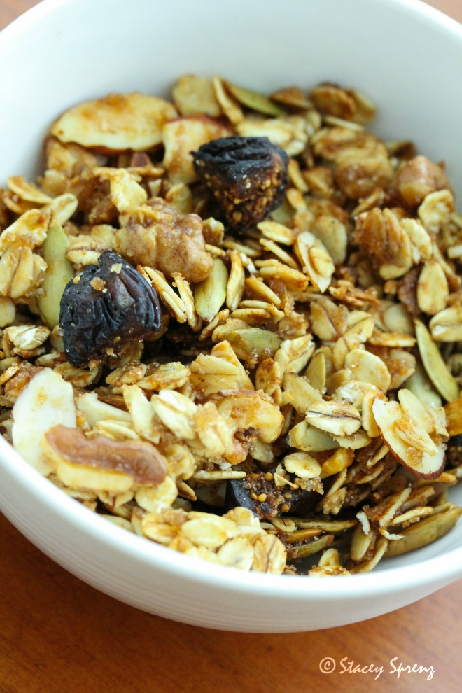 This batch of granola included chopped Mission figs and pecans.