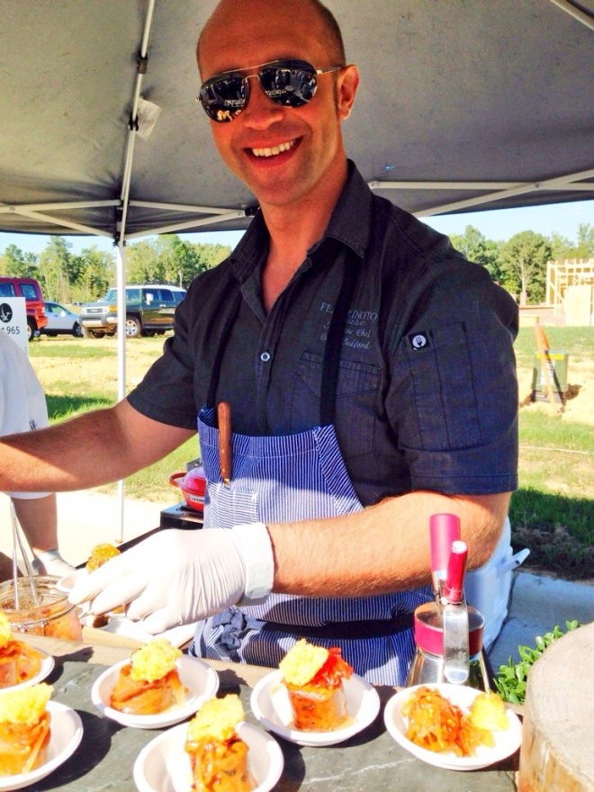 Chef Colin Bedford from Fearrington House Restaurant, looking cool in his shades, was serving up a delicious creation of Italian sausage, peppers, with a cornbread crouton.
