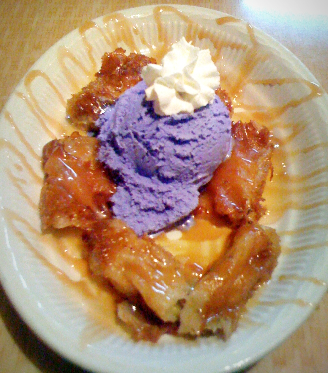 The banana turron with purple potato ice cream at Mango Hut in 29 Palms, CA. I can still taste that wonderful ice cream!
