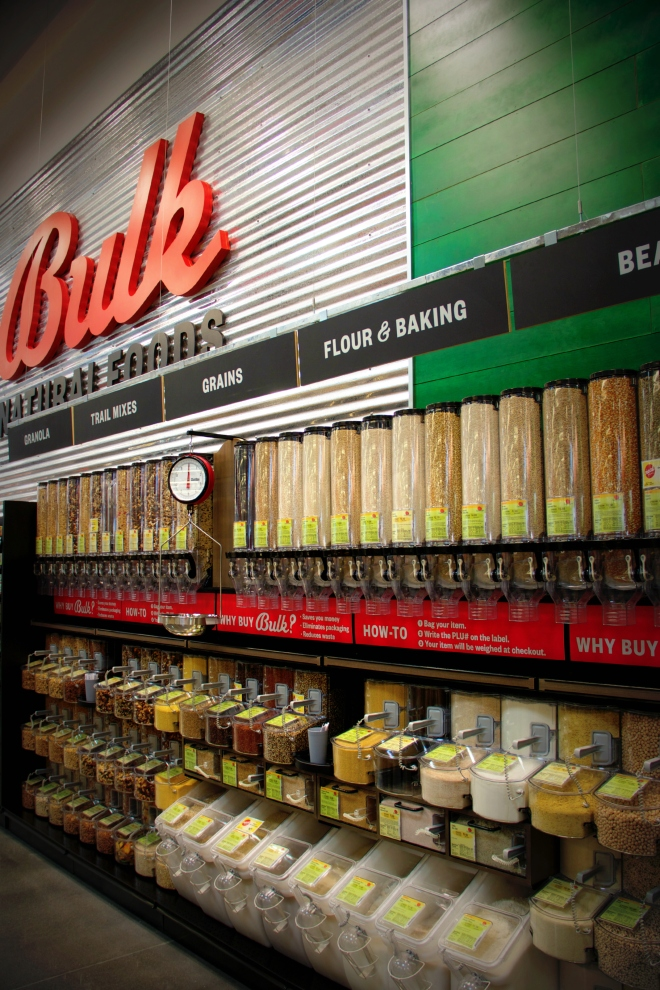 The bulk section has a large variety of grains, beans, flours, nuts, and more.
