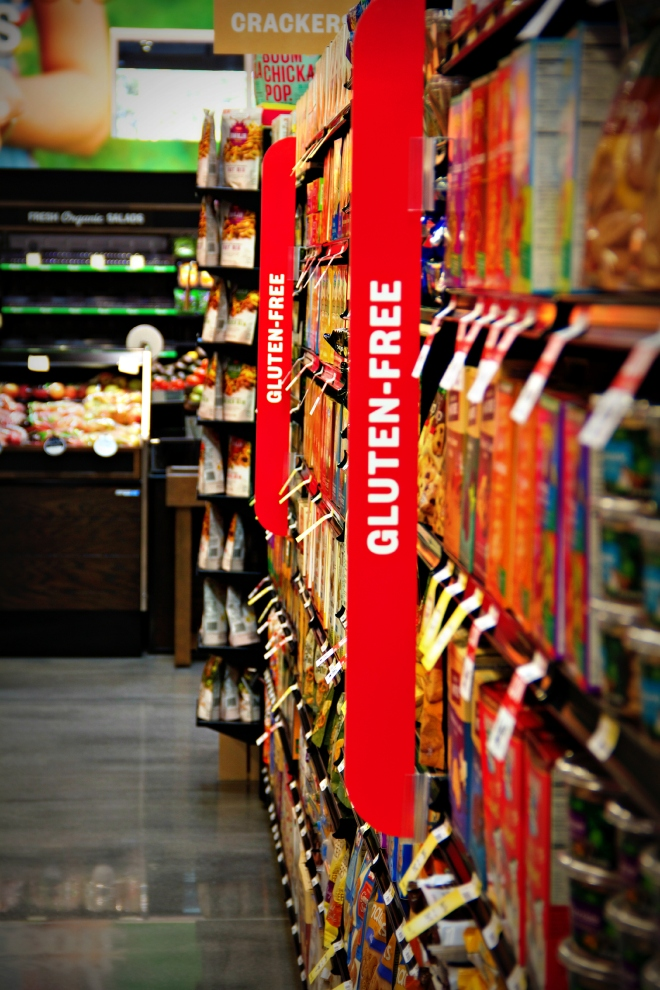 Nearly every aisle has a gluten-free section.  In between those signs, customers will find gluten-free options.